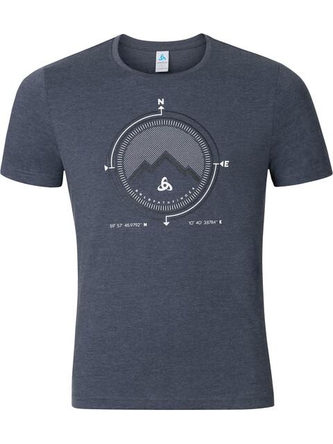Odlo Signo Shirt S/S Crew Neck Men peacoat melange-placed print SS17